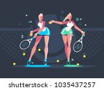 girls play tennis on court.... | Shutterstock .eps vector #1035437257