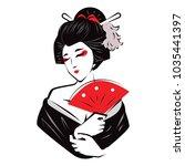 Beautiful Japanese Geisha Holds ...