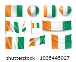 set ivory coast flags  banners  ... | Shutterstock .eps vector #1035445027
