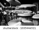 percussion instruments in the... | Shutterstock . vector #1035446521