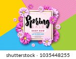 spring sale background design... | Shutterstock .eps vector #1035448255