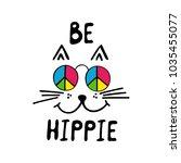 be hippie typography poster.... | Shutterstock .eps vector #1035455077