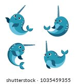 Cartoon happy  smiling narwhal set.Funny kawaii character isolated set. flat vector style illustration.