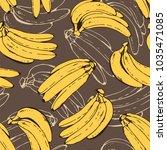 banana vector pattern  seamless ... | Shutterstock .eps vector #1035471085