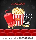 juice and popcorn for movie... | Shutterstock .eps vector #1035473161