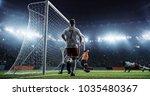 soccer game moment  on... | Shutterstock . vector #1035480367