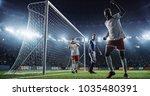 soccer game moment  on... | Shutterstock . vector #1035480391