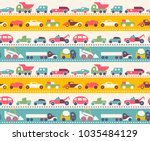 seamless pattern with toy cars | Shutterstock .eps vector #1035484129