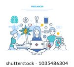 concept of freelancers and... | Shutterstock .eps vector #1035486304