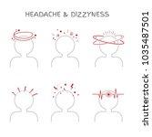 set of headache and dizziness...   Shutterstock .eps vector #1035487501