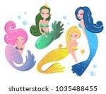 four cute mermaids. hand drawn...