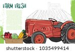illustration of tractor with... | Shutterstock .eps vector #1035499414