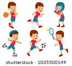 kids boy sports activity... | Shutterstock .eps vector #1035500149