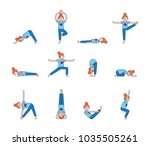 girl practicing yoga. yoga... | Shutterstock .eps vector #1035505261