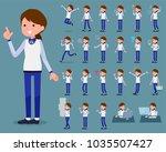 flat type store staff blue... | Shutterstock .eps vector #1035507427