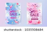 spring sale banners with hand... | Shutterstock .eps vector #1035508684