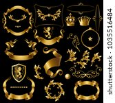 vector set decorative golden... | Shutterstock .eps vector #1035516484
