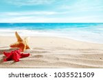 shell on sand and summer time    Shutterstock . vector #1035521509