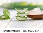 aloe vera gel closeup. sliced... | Shutterstock . vector #1035522514