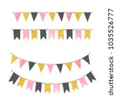set of bunting party flags.... | Shutterstock .eps vector #1035526777