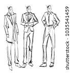 sketch. handsome stylish man... | Shutterstock .eps vector #1035541459