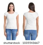 front and back views of young... | Shutterstock . vector #1035543667