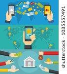 money transaction around world... | Shutterstock .eps vector #1035557491