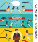 journalism news microphones... | Shutterstock .eps vector #1035557497