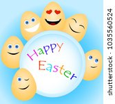greeting card with funny easter ... | Shutterstock .eps vector #1035560524
