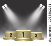winners podium with spotlights. ... | Shutterstock .eps vector #1035562291