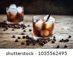 black russian cocktail with... | Shutterstock . vector #1035562495