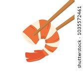 chopsticks and shrimp cartoon... | Shutterstock .eps vector #1035572461