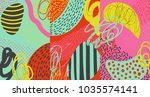 creative doodle art header with ... | Shutterstock .eps vector #1035574141