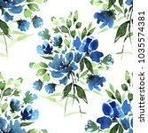 watercolor floral seamless...   Shutterstock . vector #1035574381