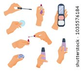 arm holds a different make up.... | Shutterstock .eps vector #1035576184