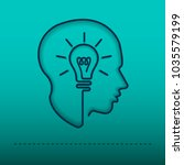 head creating a new idea ... | Shutterstock .eps vector #1035579199