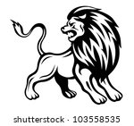 angry lion in heraldic style....