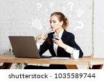 businessman pressing button... | Shutterstock . vector #1035589744