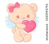 cute teddy bear angel with a... | Shutterstock .eps vector #1035593791