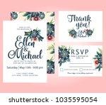wedding vector watercolor... | Shutterstock .eps vector #1035595054