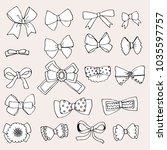doodle set of bows | Shutterstock .eps vector #1035597757