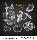 mandarin orange set. chalk... | Shutterstock .eps vector #1035605311