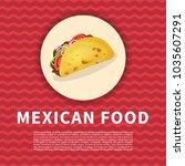 delicious taco poster. cute... | Shutterstock .eps vector #1035607291