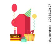 1 year happy birthday greeting... | Shutterstock .eps vector #1035613627