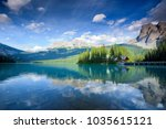 beautiful emerald lake in yoho... | Shutterstock . vector #1035615121
