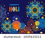 happy holi   festival of colors.... | Shutterstock .eps vector #1035615211