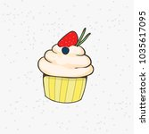vanilla muffin with strawberry... | Shutterstock .eps vector #1035617095