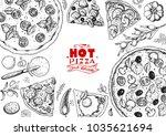 italian pizza and ingredients... | Shutterstock .eps vector #1035621694