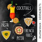 cocktails  pizza  pasta and... | Shutterstock .eps vector #1035628171