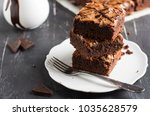 chocolate brownie cake piece... | Shutterstock . vector #1035628579